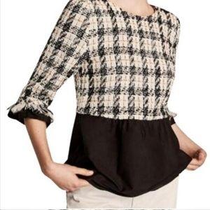Zara Peplum Tweed Top XL